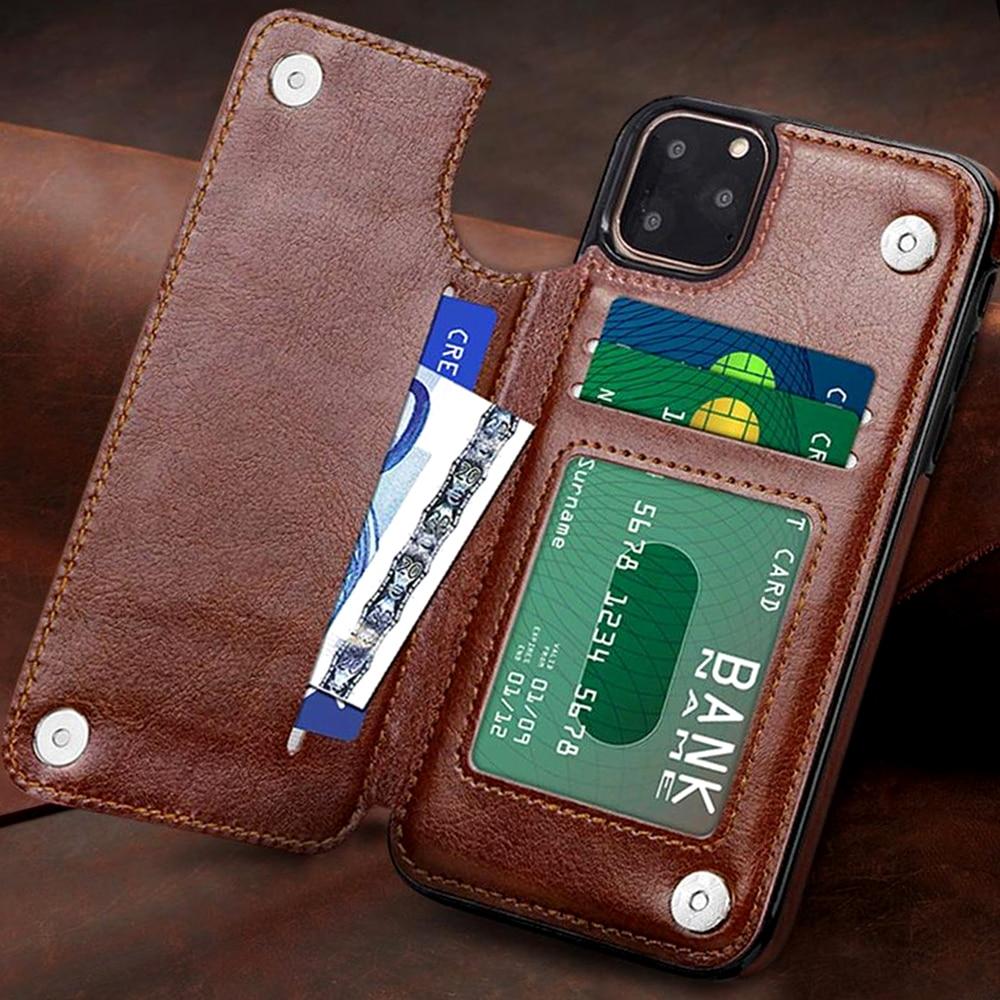 Funda Retro de cuero PU con tapa tipo billetera Funda magnética para iPhone 11 11Pro 11Pro MAX XS XSMAX XR X 10 8 7 6 Plus 5 s