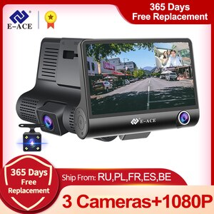 E-ACE Car Dvr 4.0 Inch Dash Cam FHD 1080P Video Recorder Car Camera Auto Dashcam Support Rear View Camera Registrator Dvrs