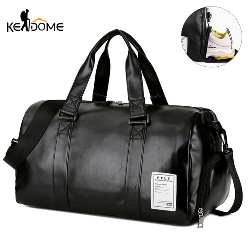 Gym Bag Leather Sports Bags Dry Wet Bags Men Training for Shoes Fitness Yoga Travel Luggage Shoulder