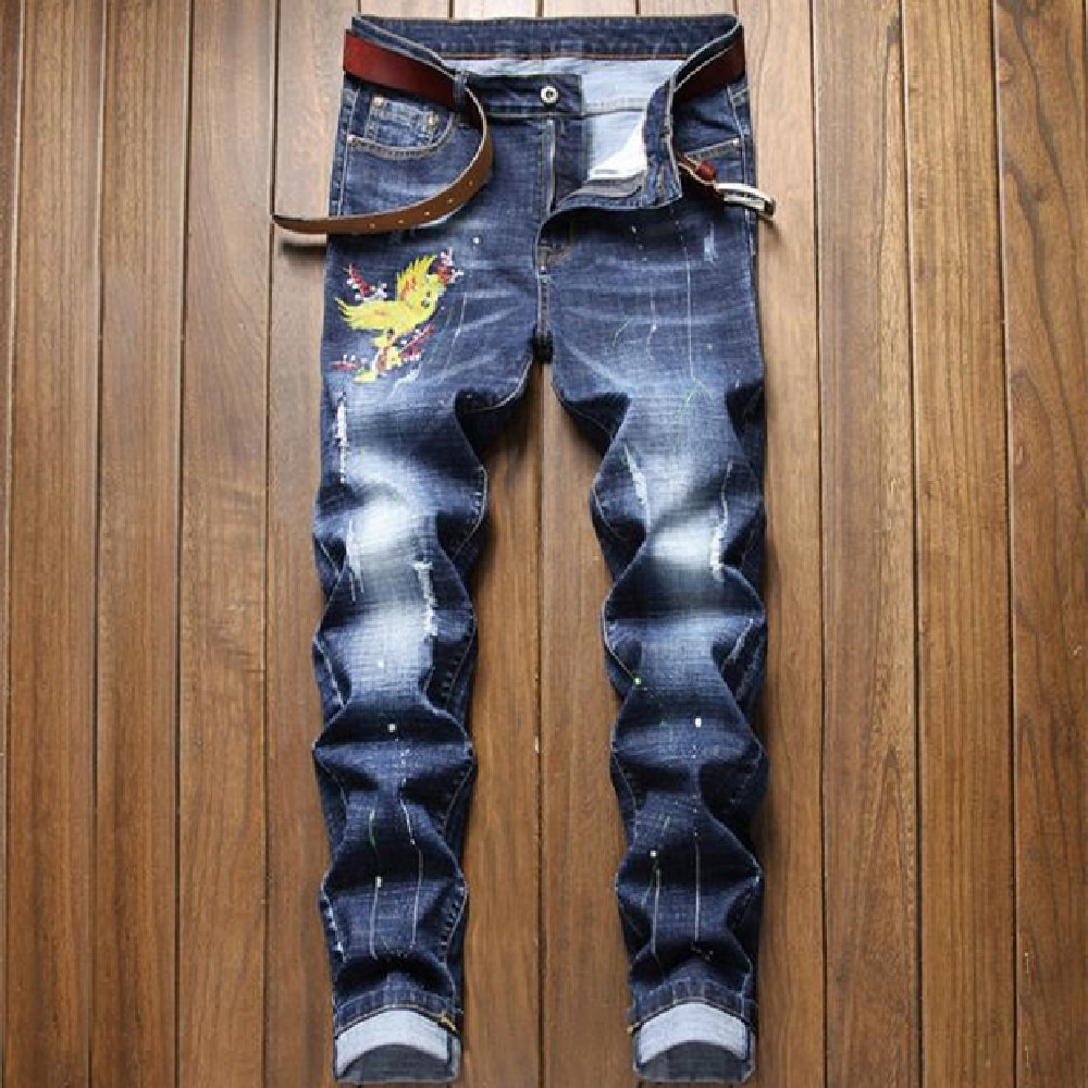 Mans jeans new European and American trend slim small straight tube fashion retro blue individual character embroidered