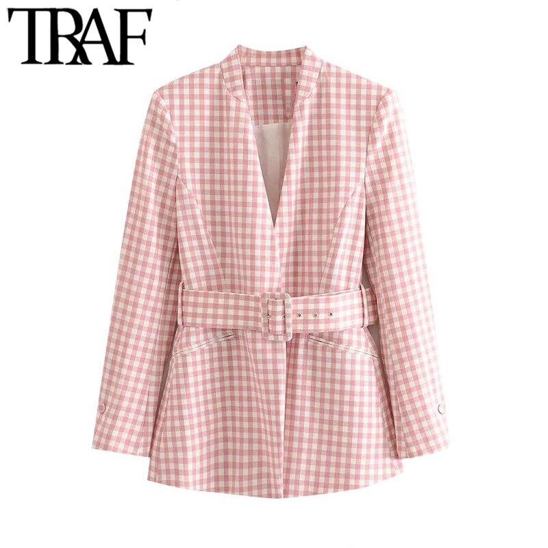 TRAF-سترة نسائية منقوشة بحزام ، ملابس مكتب ، معطف عتيق ، أكمام طويلة ، جيوب ، ملابس خارجية أنيقة