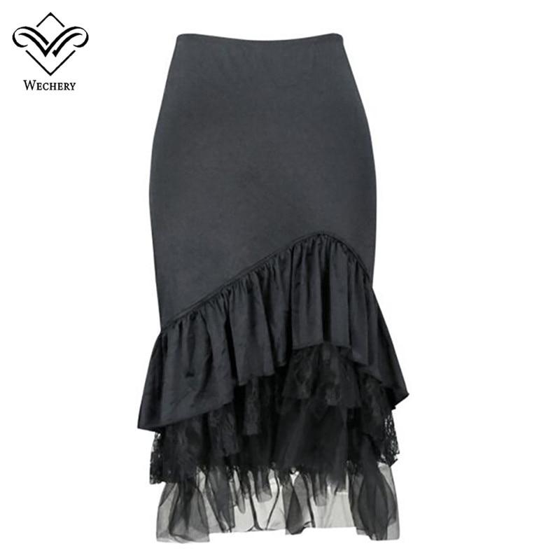 Wechy 2019 gótico Steampunk falda de mujer negro Casual volantes sólidos trompeta sirena media pantorrilla faldas estilo Retro gótico