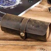 round watch box pu wrist watch case watches storage fashion travel portable case pouch unisex snap retro i9m6