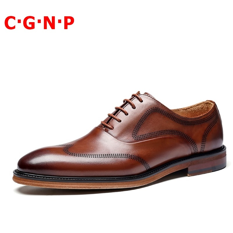 Купить с кэшбэком CGNP High Quality 100% Genuine Leather Shoes For Men Luxury Handmade Oxfords Men Dress Shoes Lace-up Male Formal Shoes