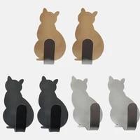 2 pieces porte-serviettes a vetements crochets auto-adhesifs motif de chat support de rangement pour salle de bain