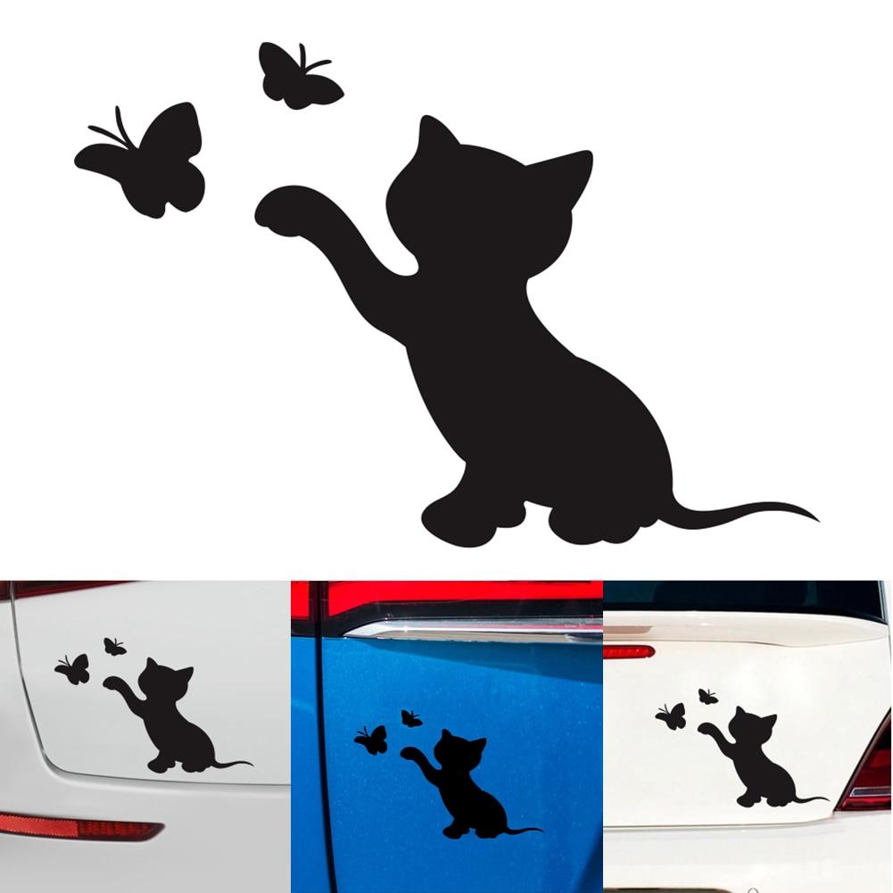 Car Sticker Cat Butterfly Fashion Decor Vinyl Decal Bumper Decorative Accessories High Quality