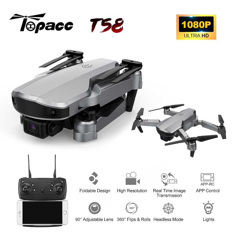 Topacc t58 2.4g wifi fpv grande angular profissional 1080p hd câmera rc helicóptero dobrável mini drone modo de espera altura quadcopter rtf