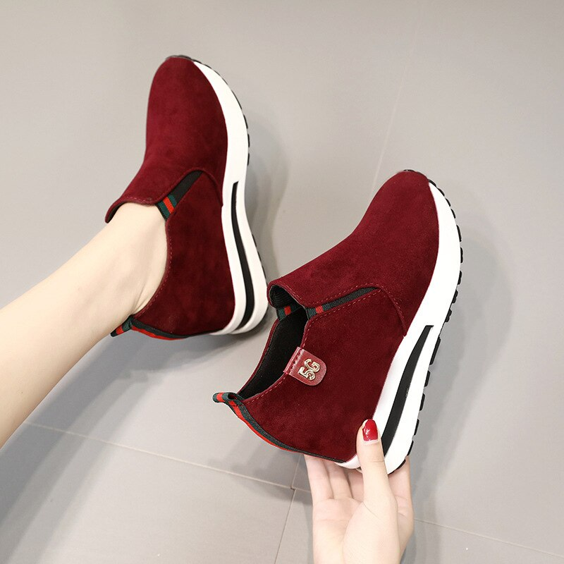 Single shoes women's inner heightening thick-soled sets of feet low-top casual loafers student platform shoes casual personality