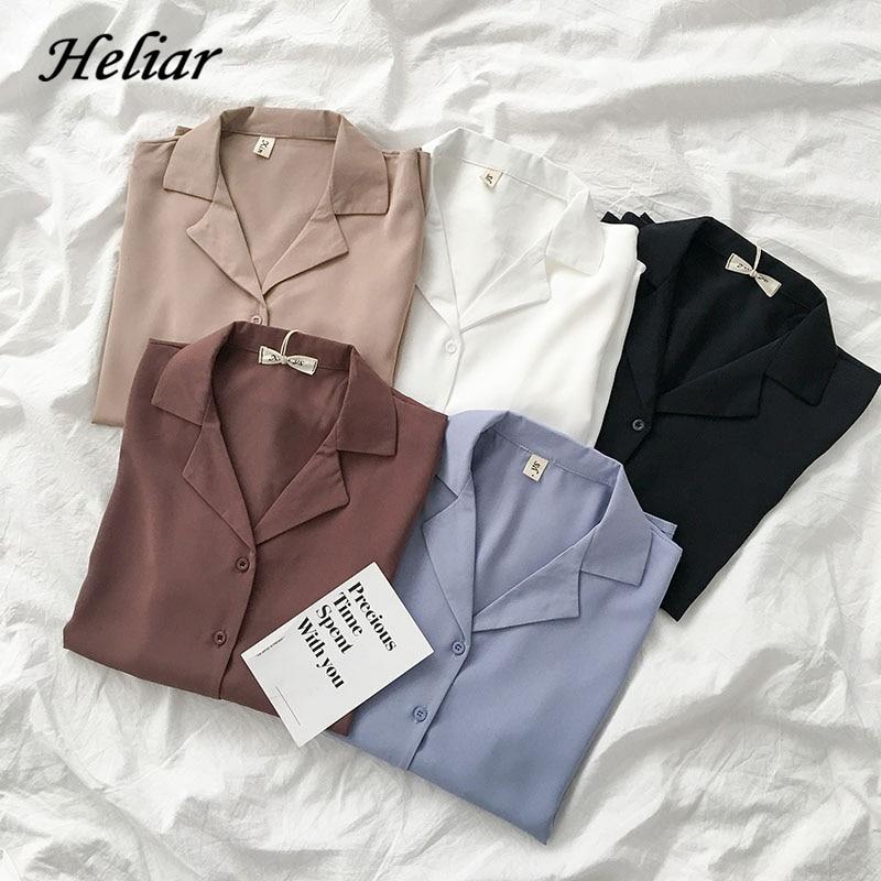 Heliar Vrouwen Sping Chiffon Shirts Lange Mouw V-hals Dichtgeknoopt Tops En Blouse Elegante Effen Losse Ol Blouse Shirts Voor vrouwen