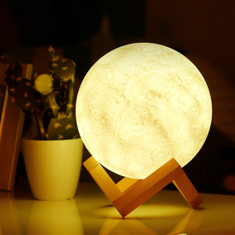 Dropship LED Night Light 3D Print Moon Lamp Rechargeable Color Change 3D Light Touch Moon Lamp Child
