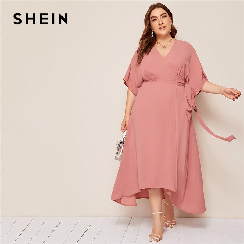 SHEIN Plus Rosa tamaño sólido Surplice cuello abrigo con cinturón Maxi Vestido Mujer otoño Kimono manga A línea alta cintura elegante vestidos
