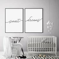 Peinture sur toile avec citations de doux reves  minimaliste  noir et blanc  affiches de pepiniere  imprimes dart mural  images pour chambre a coucher  decoration de la maison