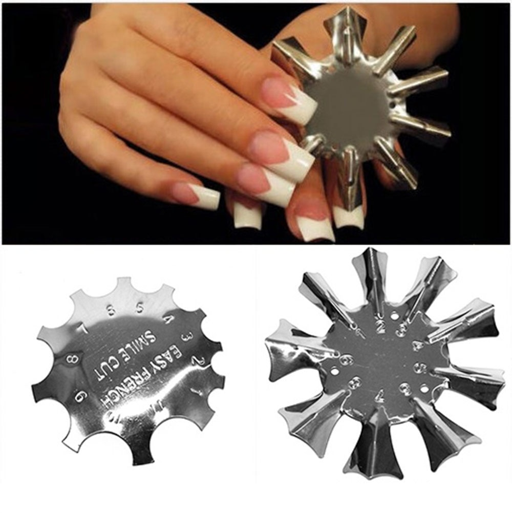 1pc Nail Art Edge Metal Trimmer Form Cutter Clipper Styling Gel Easy French Trim Smile Line Template Tools #RK/98