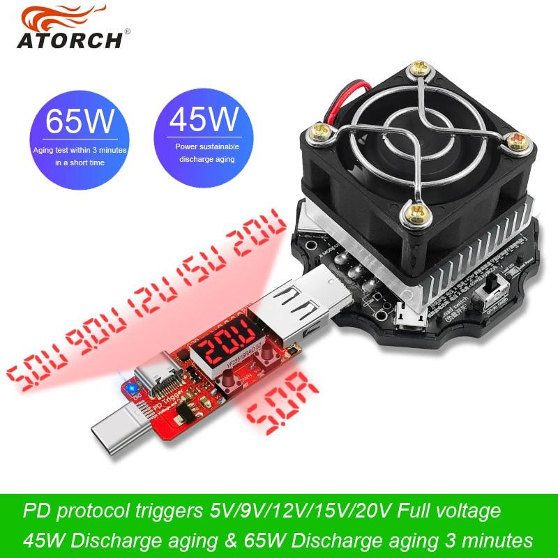 65w тестер аккумулятора электронная нагрузка 18650 Емкость индикатор разрядки заряда измерительный прибор USB 5 В, 12 В, 24 В постоянного тока, блок питания проверки