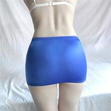 Mini jupe mujer faldas femme jupes femmes saias mulher femme jupes couleur unie Ultra mince brillant soyeux ultrashort perspective