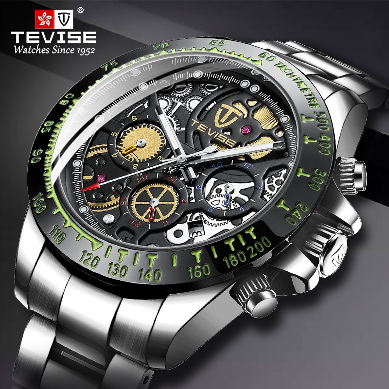 Relogio Masculino TEVISE Mens Watches Top Brand Luxury Automatic Mechanical Watch Full Steel Busines
