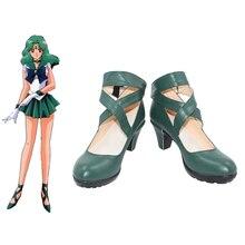 Nouveau Anime Salior lune marin Neptune/Kaiou Michiru Cosplay Halloween fête chaussures vert foncé sur mesure