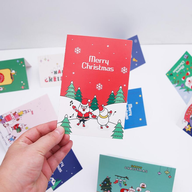 Рождественские открытки, Подарочная открытка с Санта-Клаусом, мультяшная Рождественская открытка, снеговик, поздравительные открытки для ...