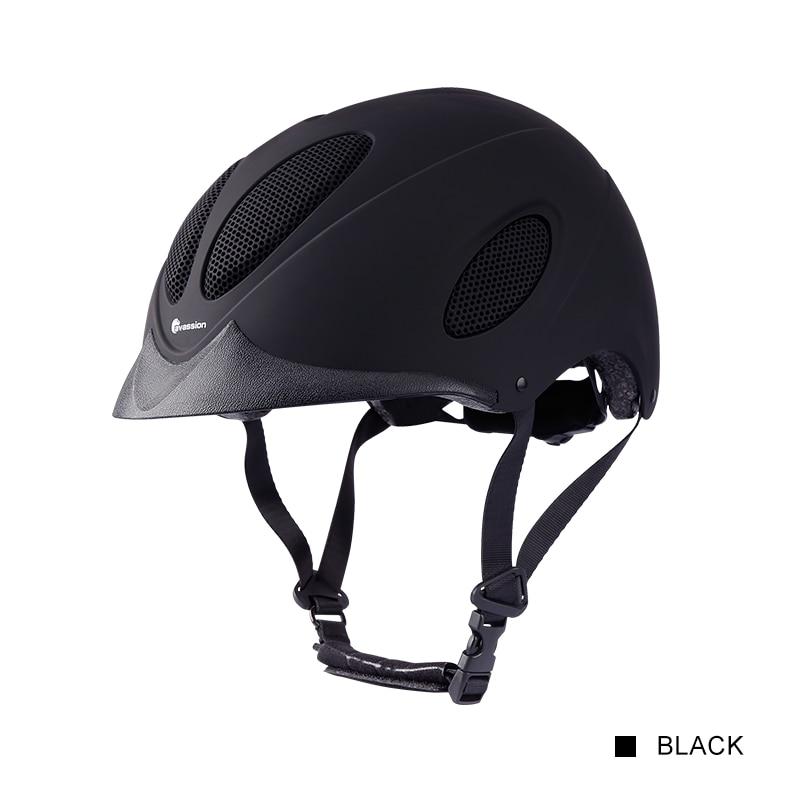 Cavassion Adjustable equestrian helmet Black matte finish Good air permeability Horse riding helmet for children and adult S M L