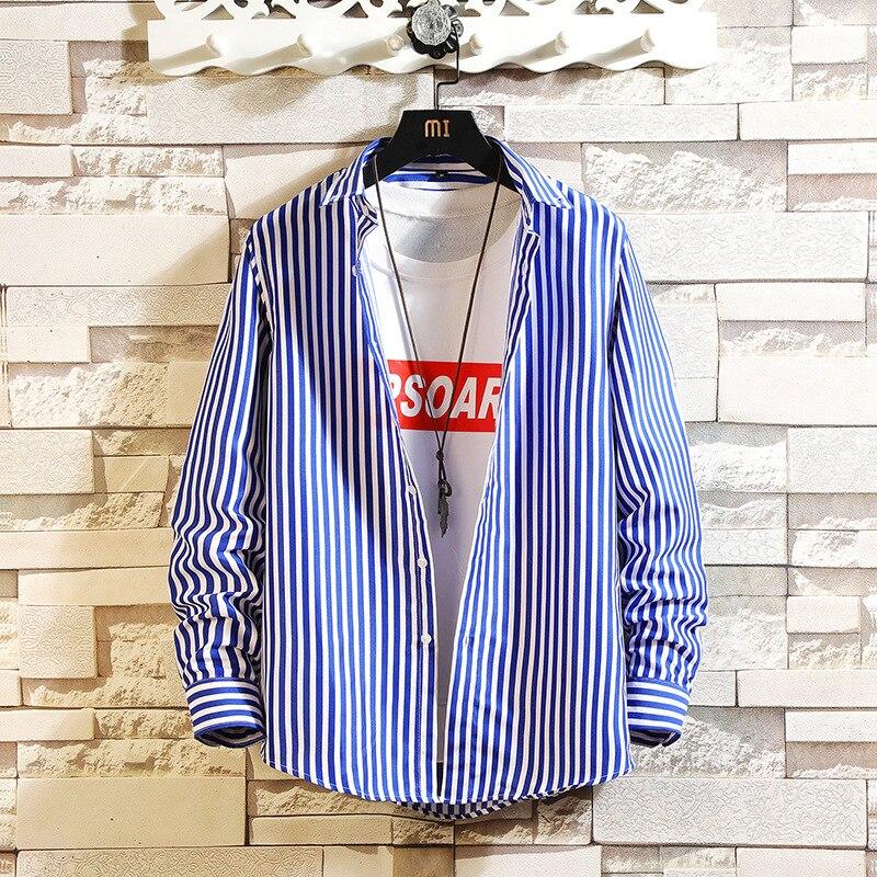 Футболка 2021, полосатая рубашка с длинными рукавами, мужская рубашка в японском стиле, кардиган, мужская рубашка, мужская рубашка, мужская по...