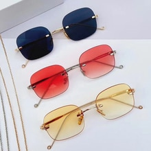 Elbru Fashion Anti-blue Light Frameless Sunglasses Metal Mirror Leg Eye Protection Simplicity Trend