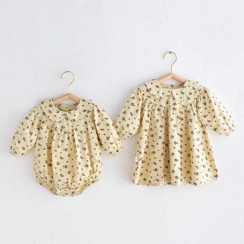 2021 Autumn New Baby Girl Long Sleeve Clothes Newborn Toddler Bodysuit Jumpsuit Floral Girls Dress T