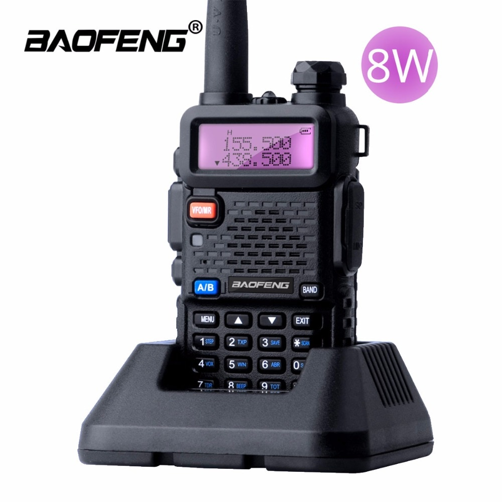 Baofeng UV-5R 8W اسلكية تخاطب 10 كجم ثنائي الموجات فوق البنفسجية 5R هام اتجاهين راديو VOX مصباح يدوي طويل المدى الصيد المحمولة راديو