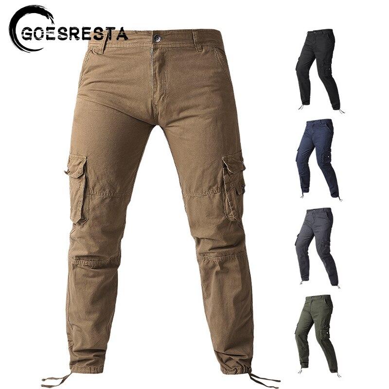 Брюки-карго мужские однотонные, тактические Хлопковые Штаны в стиле милитари, брендовые удобные повседневные штаны, 2021