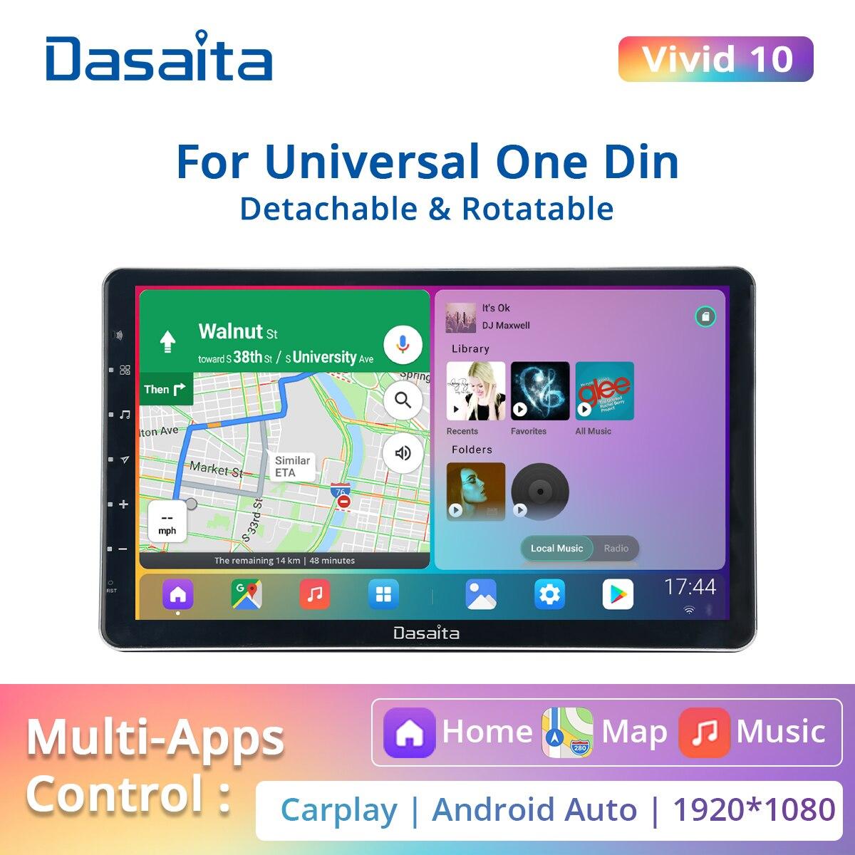 Dasaita Vivid 11,6 1 Din радио Carplay Android автомобильный стереоплеер 1920*1080 IPS сенсорный экран радио GPS навигация