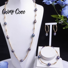 Gold Plated Jewelry Sets Hawaiian Freshwater Pearl Hoop Earrings 2021 Trends Necklaces Set Female Br