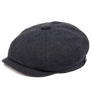 Gorras Hombre кепка мужская Men's Herringbone Style Berets Retro Woolen Top Felt Hat Fashion Wild Casual Berets Flat Berets