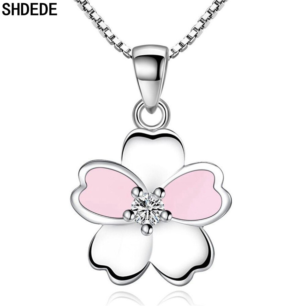 SHDEDE Flower Necklace Pendants Fashion Jewelry Embellished With Crystals From Swarovski 925 Silver Accessories Pink -WH7