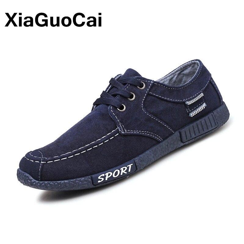 Zapatos de lona para hombre 2020 Plimsolls transpirables Low Top Hombre Zapatos informales de tela con cordones Retro Denim Mans calzado primavera otoño