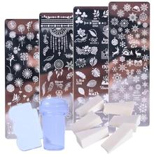 1 Set Nail Art Stamp Plates Nail Polish Print Leaf Flower Dreamcatcher Snowflake Christmas Stamper Scrapper Sponge JISTZN01-12-2
