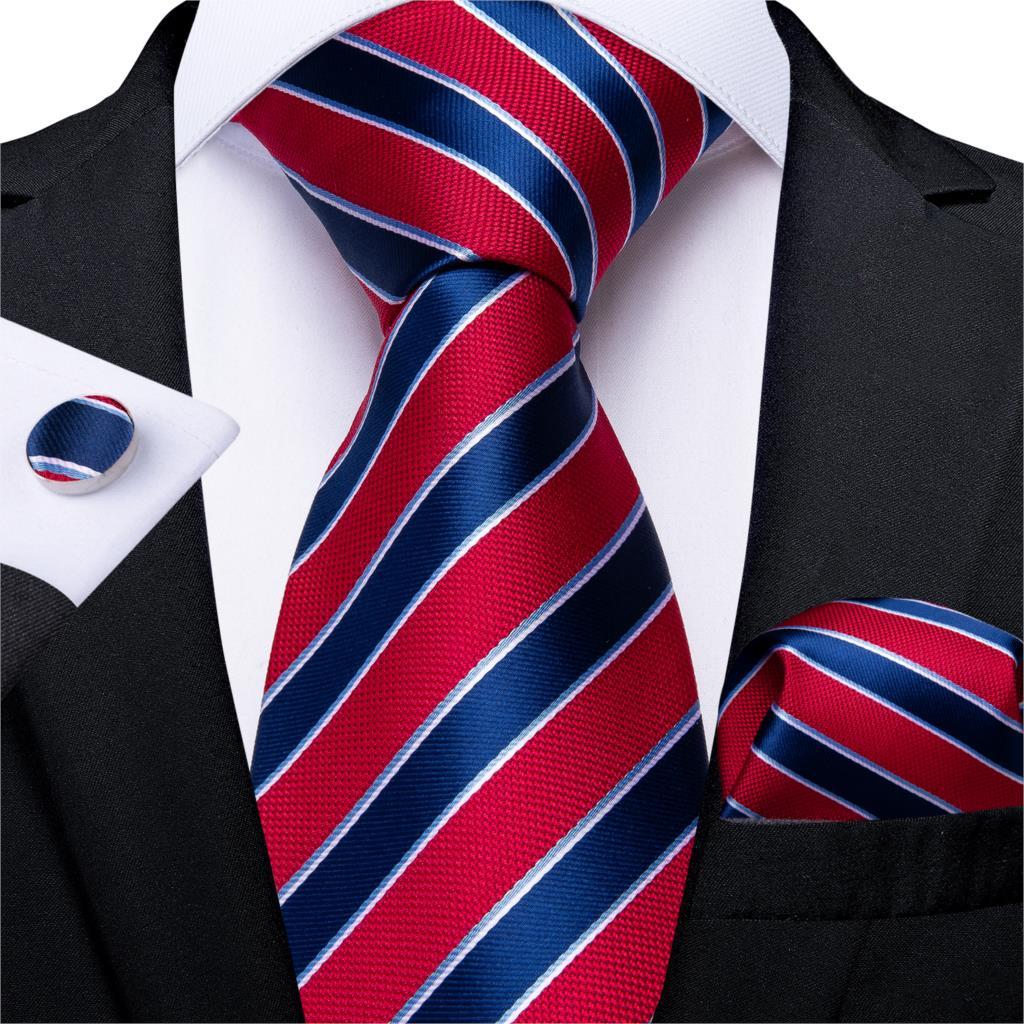 Мужской галстук Синий Красный Полосатый Свадебный галстук для мужчин носовые запонки шелковый галстук набор модный деловечерние для вечеринки дизайнерский галстук