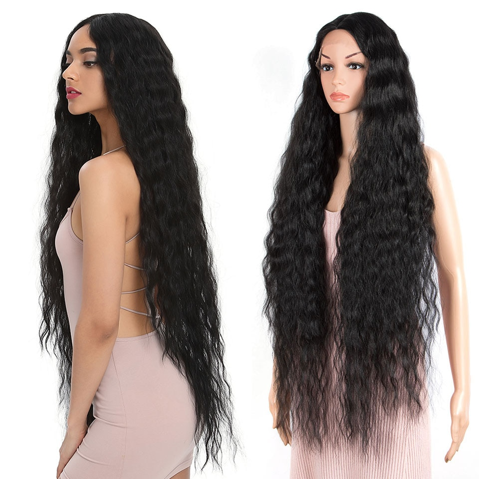 """FASHION IDOL 42"""" Loose Wave Fake Hair Synthetic Wigs For Black Women Ombre Blonde Brown Water Wavy Long Curly Hair Wig Cosplay"""