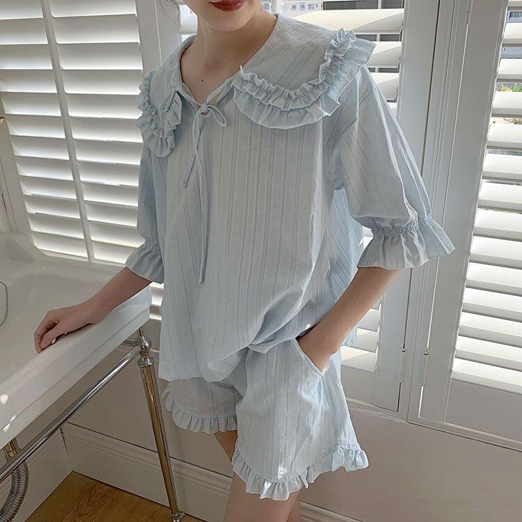 الصيف المرأة لوليتا الأميرة بيجامة مجموعات. بلايز + السراويل. Vintage السيدات فتاة بدوره أسفل طوق بيجامة مجموعة. ملابس النوم