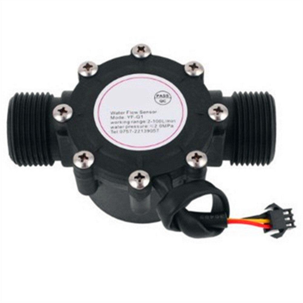 """1 unidad G1 """"to G1"""" rosca macho BSP 2-100L/min controlador de flujómetro de Sensor de Flujo de Agua recto 3,5-12V 5-24V negro"""