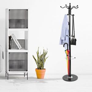 1.7m Coat Rack Metal Coat Rack Hat Coat Hangers Display Floor Standing Rack Hooks Clothes Hanging Bedroom Clothing Organizer HWC