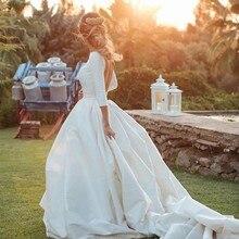 Booma Simple Satin robe De mariée 3/4 manches dos ouvert robe De bal robes De mariée princesse Vestido De Novia avec longue Train