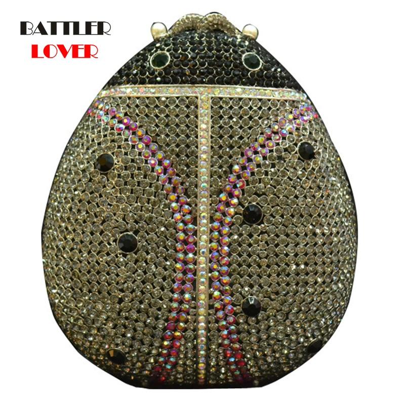 Ladies Handbag Bridal Wedding Party Purses For Women Evening Bag Diamonds Animal Ladybug Female Clutches Elegant Crystal Flaps