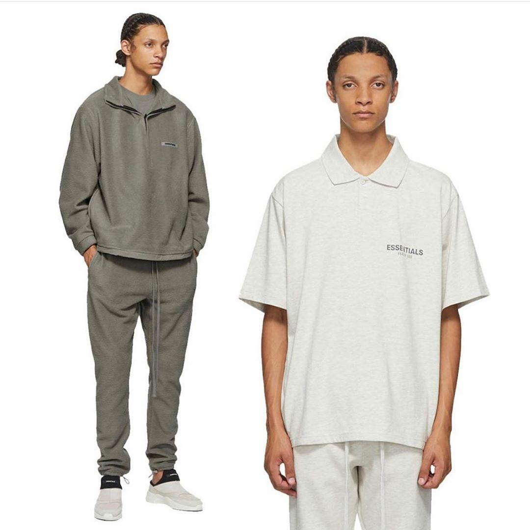 Fear of God Essentials Fog doble línea Stand Collar Polo manga corta High Street camiseta suelta hombre de moda