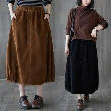 2020 Autumn and Winter New Artistic Retro Corduroy Skirt Elastic Waistband Slimming Mid-Length Casua