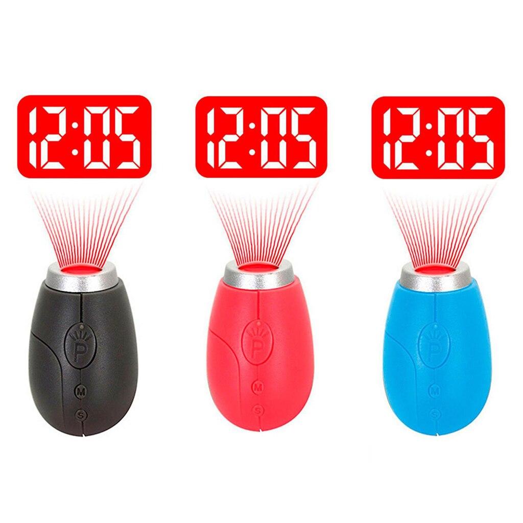 1 pieza de Mini reloj de proyección, para proyección LED de pared o techo, dormitorios, viajes, Camping, con llavero disponible en 3 colores