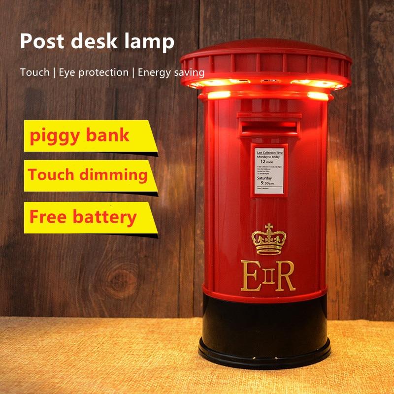 Ночник в стиле ретро с изображением копилки, настольная лампа 2 в 1 для почтового ящика, минисветильник юрный светодиодный светильник с сенс...