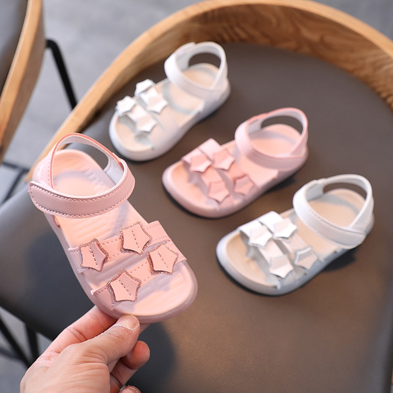 2021 Summer New Girls Sandals Female Baby Soft Bottom Open Toe Princess Shoes Pink Girls Casual Beac