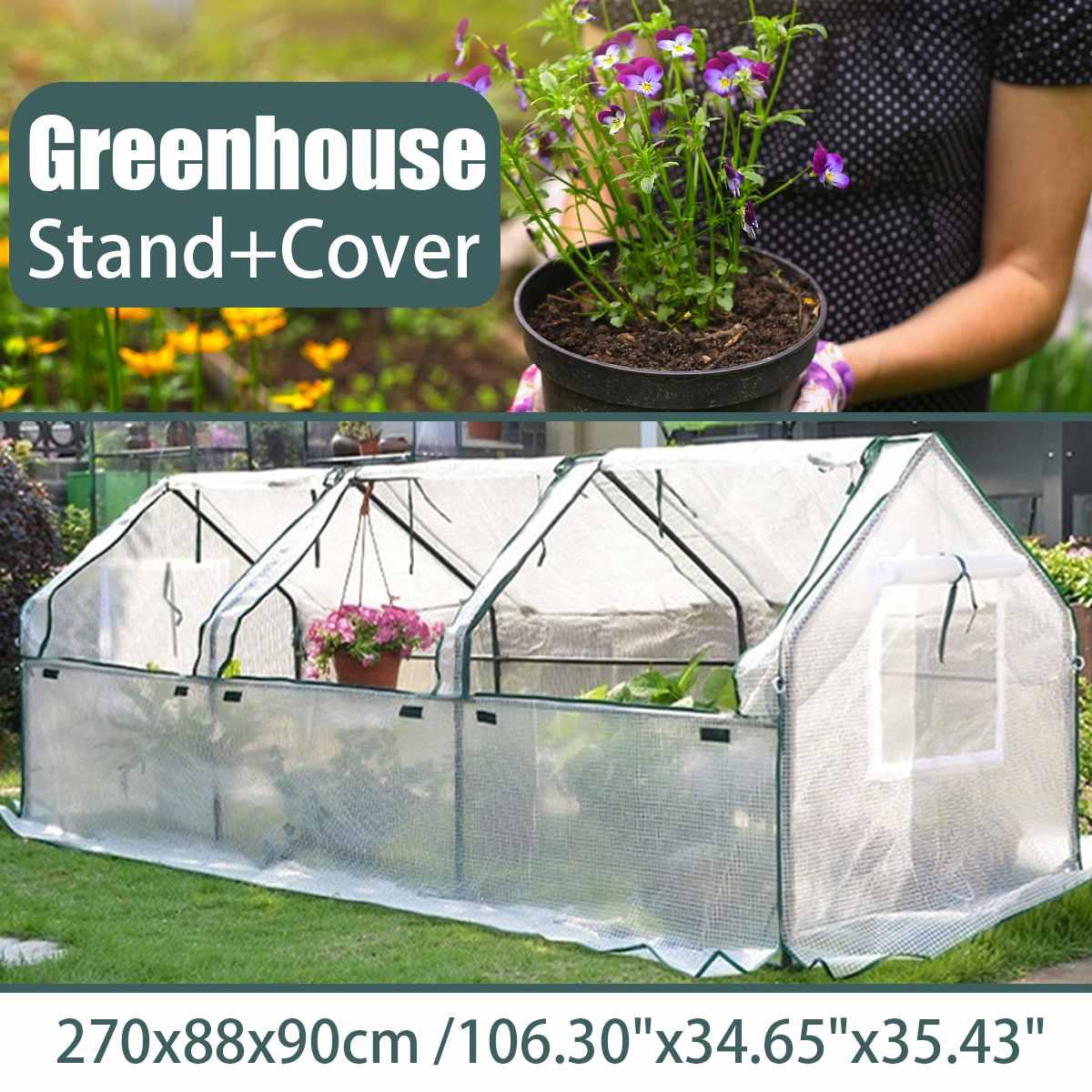حديقة كبيرة البيت الأخضر PE حديقة النباتات الدافئة الدفيئة غطاء مع إطار فولاذي نافذة في الهواء الطلق غطاء نبات سحاب 270x88x90cm