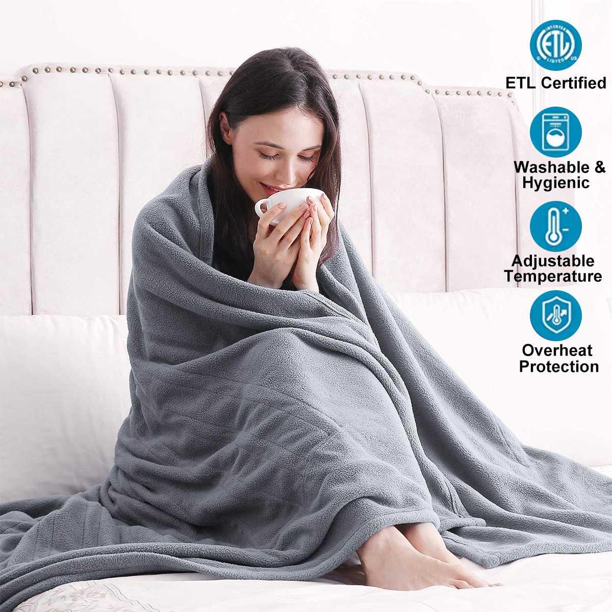 Cobertor Elétrico Cinza Aquecedor Quente Cama Termostato Macio Colchão Aquecimento Tapete 110v