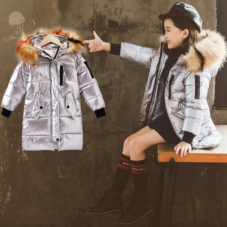 New Winter Cotton Jacket For Children Winter Down Warm Coat For Girl With Warm Fur Collar Long Fluorescent Color Kids Coat enlarge