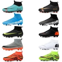 hot sale classical soccer shoes mens football boots sneakers waterproof high ankle ag soccer cleats boys outdoor sport shoes